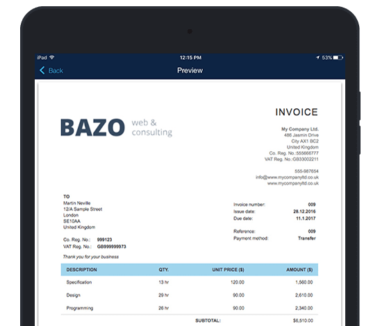 Best iPad invoicing app Send or print invoices