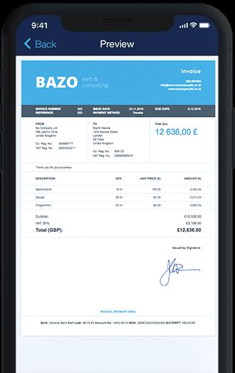 Billdu Invoice App iPhone Professional invoice templates