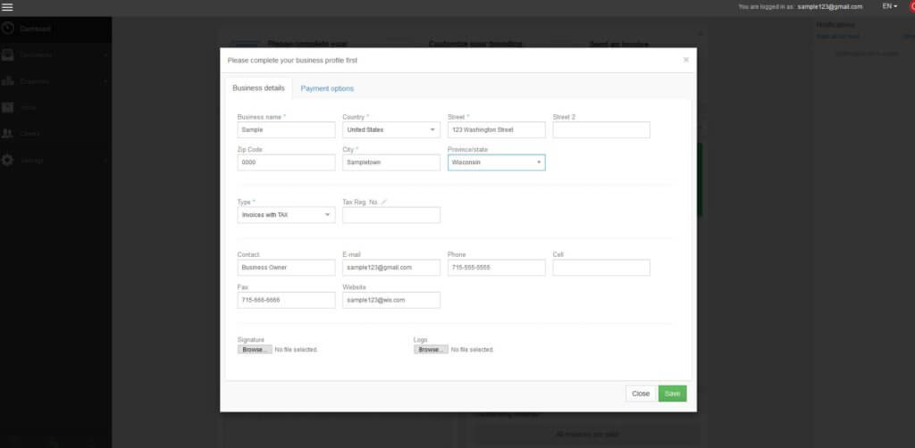 Complete your business profile before creating pro forma invoices