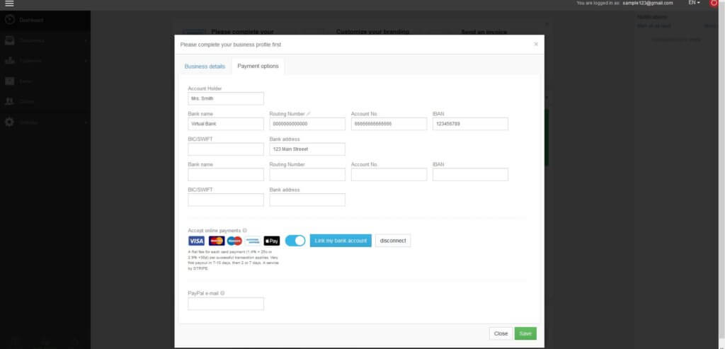 Complete your payment details profile before creating pro forma invoices