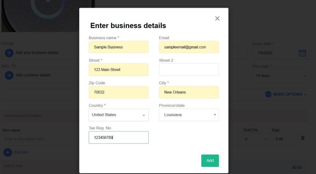 How to write an invoice Entering business details
