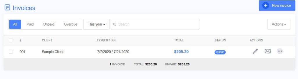 Track your invoices with