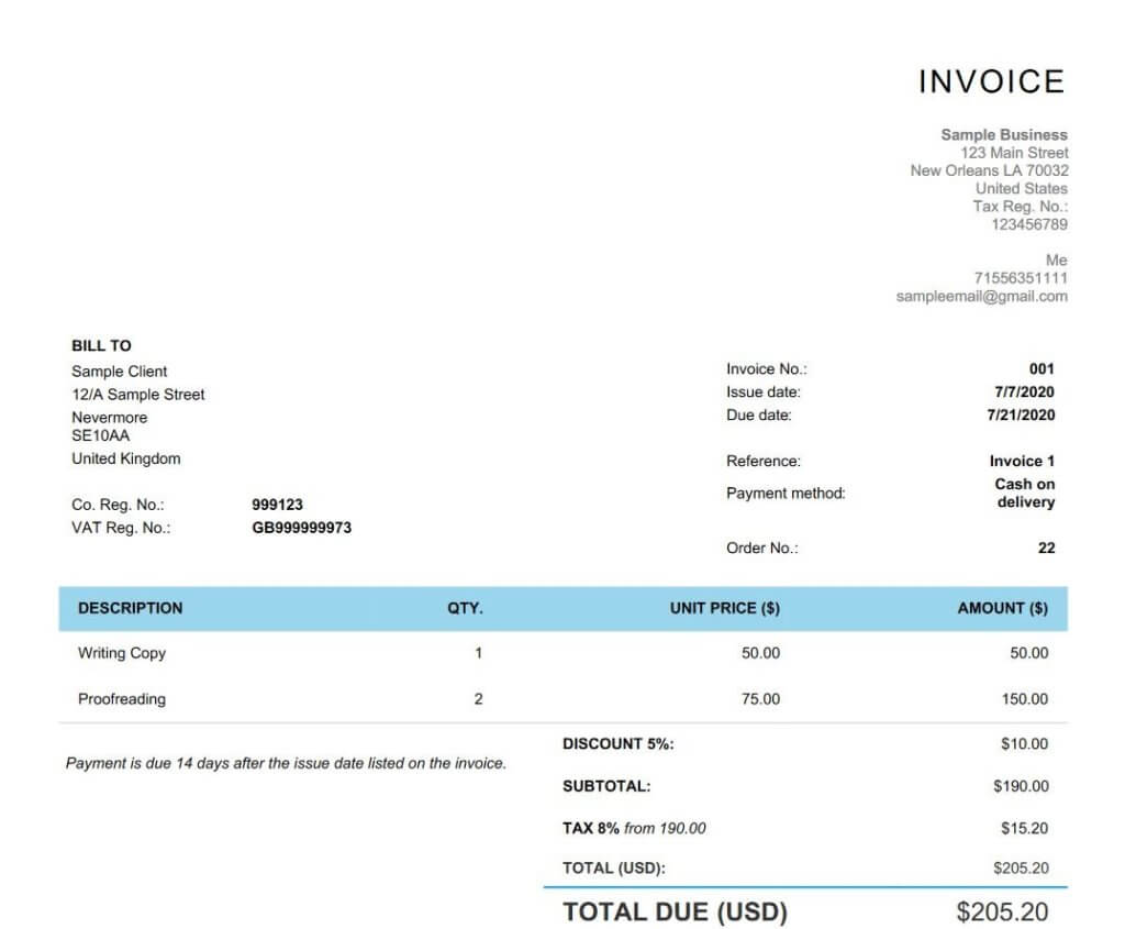 Writing an invoice Invoice preview