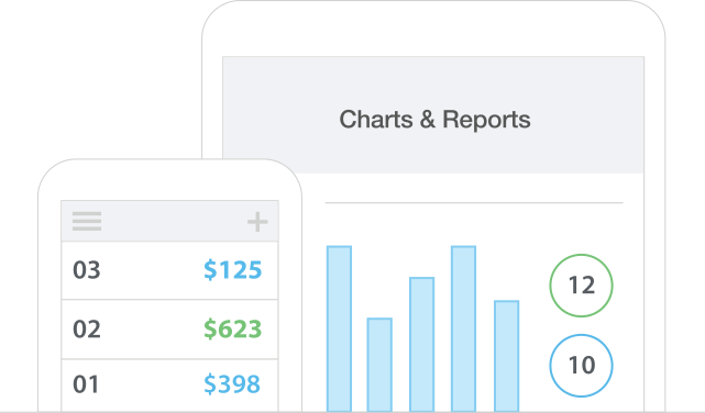 Invoice charts and reports smartphone tablet