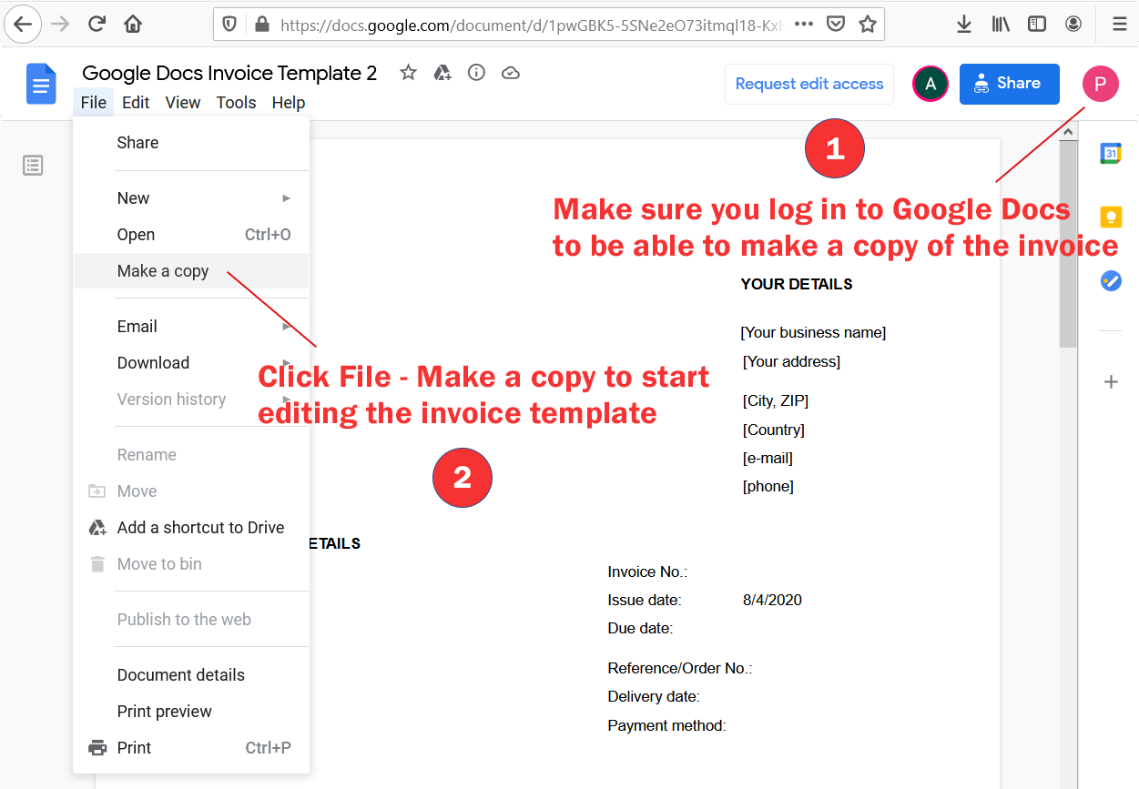 Instructions to make a copy of the Google Docs invoice template