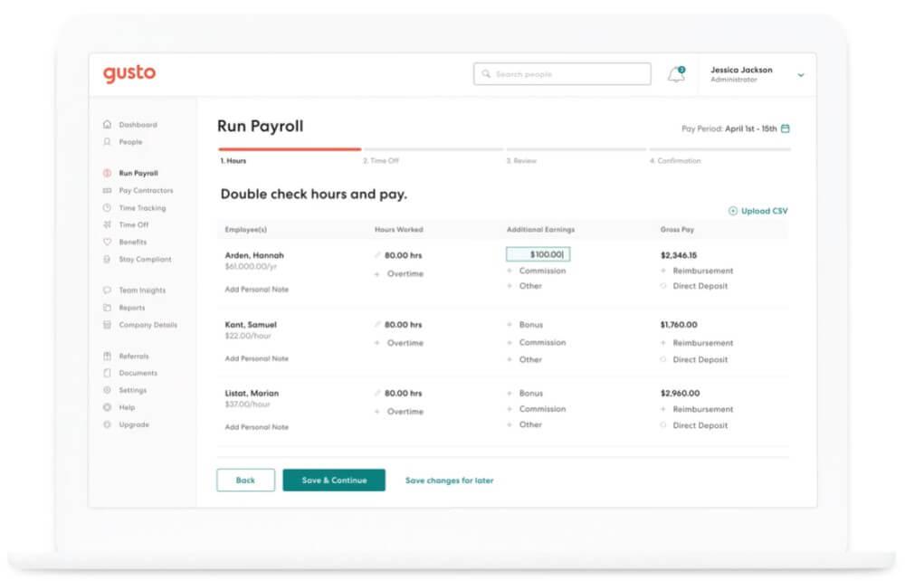 Gusto - best payroll software platform for SMEs