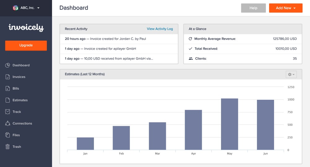 Invoicely invoice management dashboard