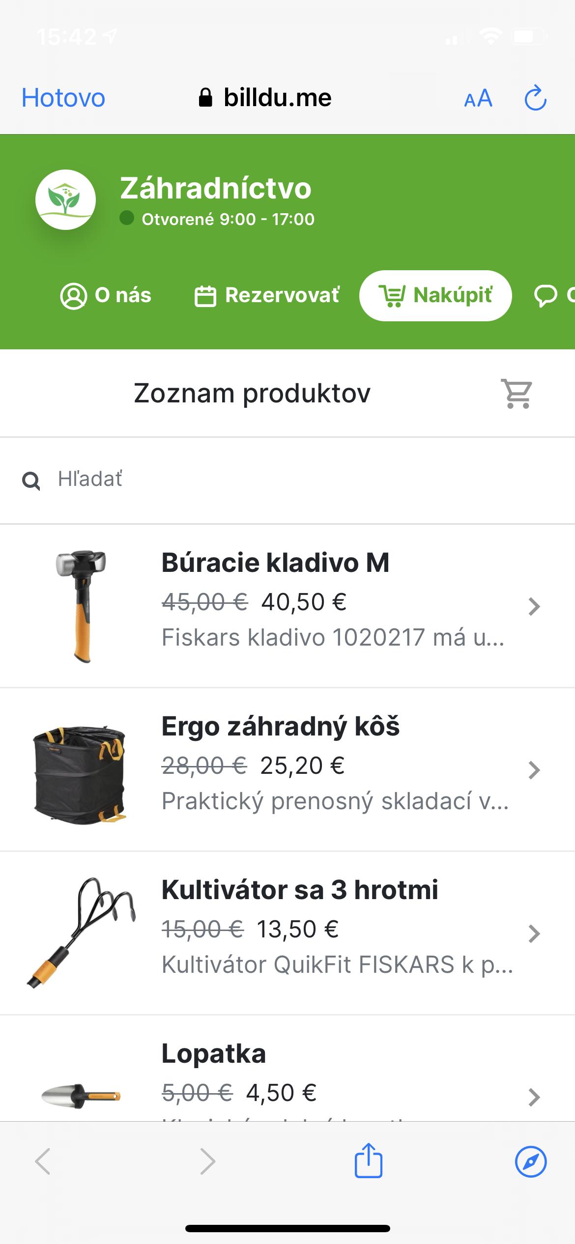 zoznam produktov