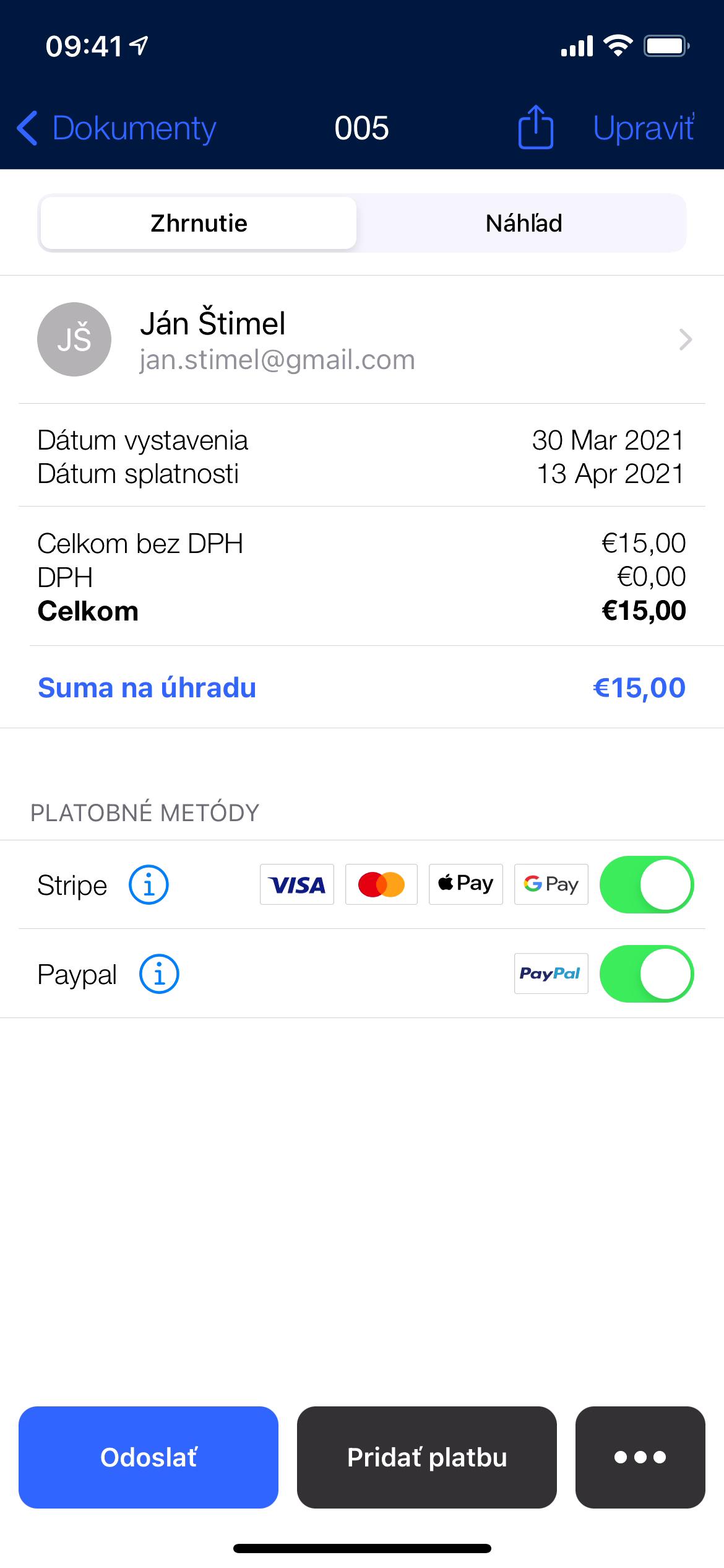 Fakturacia online platby