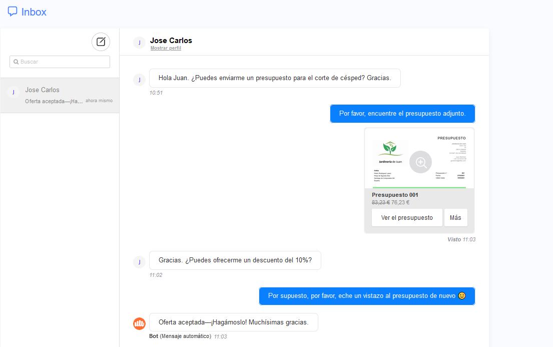 facturas cotizaciones jardin web chat